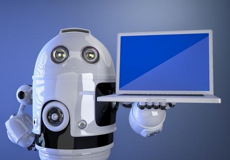 Robot shownig blank screen laptop. Technology concept photo