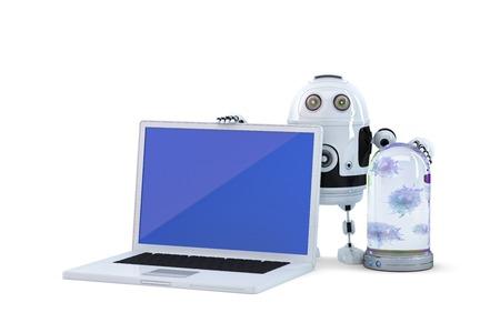 virus informatico: Robot con el ordenador portátil. Concepto de seguridad informática. Aislado en blanco