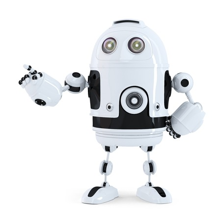 Cute robot pointing on something. Isolated on white