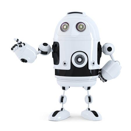 Netter Roboter auf etwas zeigt. Isoliert auf weiß Lizenzfreie Bilder