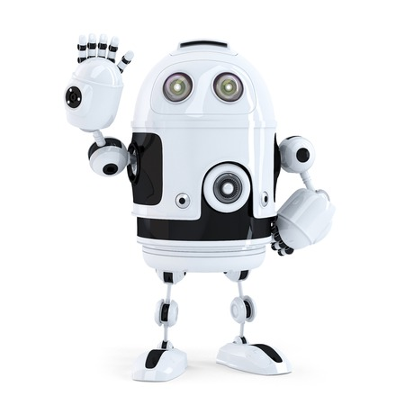Cute robot waving hello. Isolated on white  Stock Photo