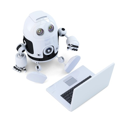 talking robot: Robot sit with laptop. Isolated on white  Stock Photo