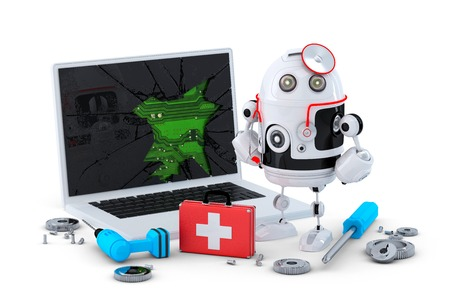 Medic Robot. Laptop repair concept. Isolated on white  photo