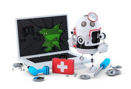 Medic Robot. Laptop-Reparatur-Konzept. Isoliert auf weiß