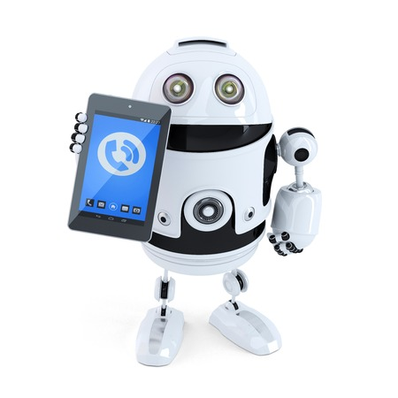 talking robot: Robotic holding ringing mobile phone or tablet. Isolated on white background Stock Photo