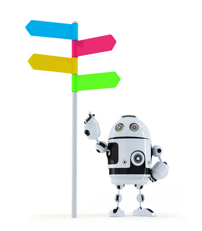 Robot pointing at road sign. Isolated on white background photo