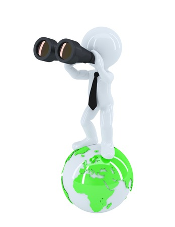 Businessman with binoculars standing on top of the globe. Business concept. Isolated photo