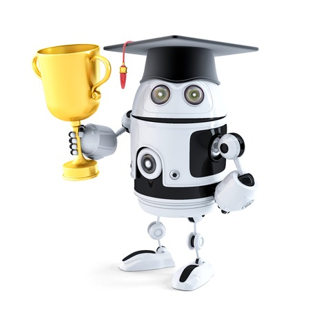 Student robot holding a trophy. Technology concept. Isolated photo