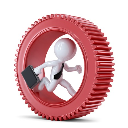energy work: Businessman running inside gear. Business metaphor. Isolated on white background