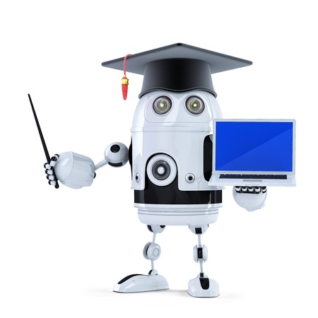 Student robot with pointer and laptop. Isolated Standard-Bild