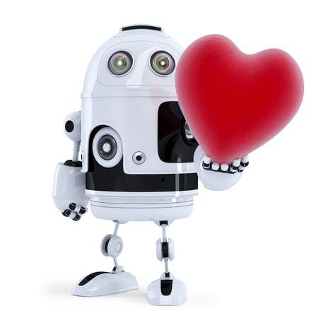 Netter Roboter mit einem großen roten Herz. Isoliert