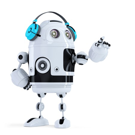 Robot with headphones pointingat invisible object. Isolated. Contains clipping path Stock Photo