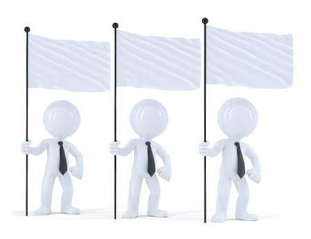 Group of businesspeople with flags. Isolated. Contains clipping path photo