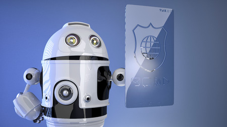 Robot pressing virtual screen with shield icon. Protection concept photo