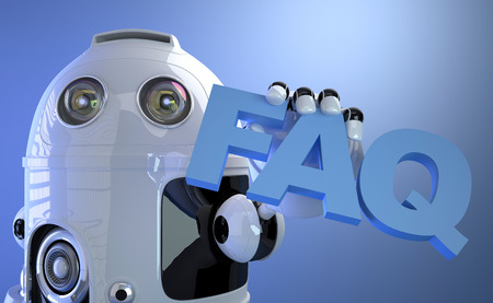 Robot holding FAQ sign. Technology concept. 3d Illustration illustration