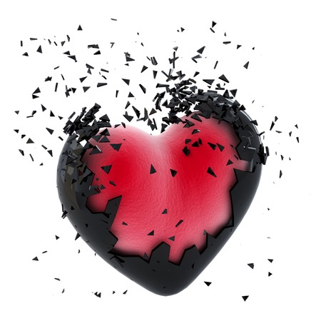 broken love: Exploding Heart. Isolated Stock Photo
