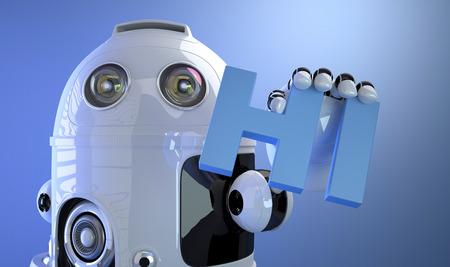 Robot holding HI sign. Technology concept. 3d Illustration illustration