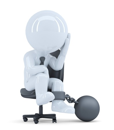 Sad business man chained to his chair  Business concept  Isolated  Contains clipping path photo