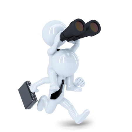 Running businessman with binoculars  Job search concept  Isolated photo