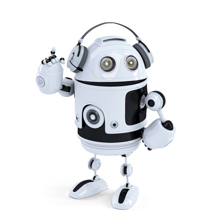 Robot with headphone  Isolated  Contains clipping path Stock Photo