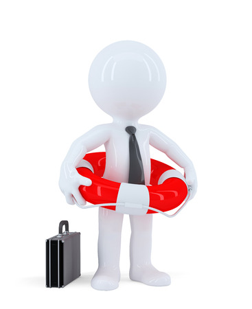 Businessman with a lifebuoy  Business concept  Isolated  Contains clipping path