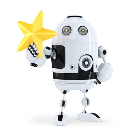 star path: 3D Robot with golden star. Isolated. Contains clipping path. Stock Photo