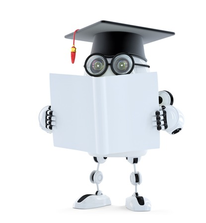 3d Student robot with blank book. Isolated. Contains clipping path of robot and book photo