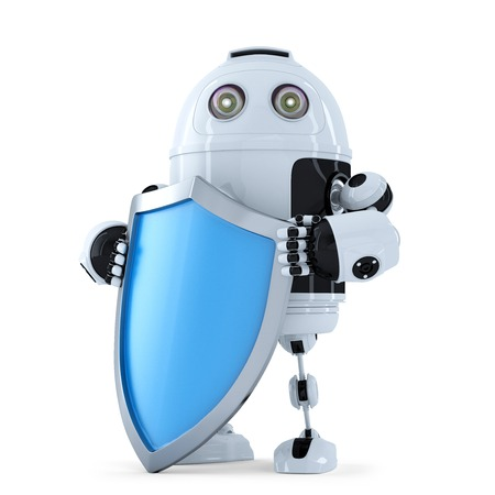 Robot with shielad. Security concept. Isolated. Contains clipping path photo