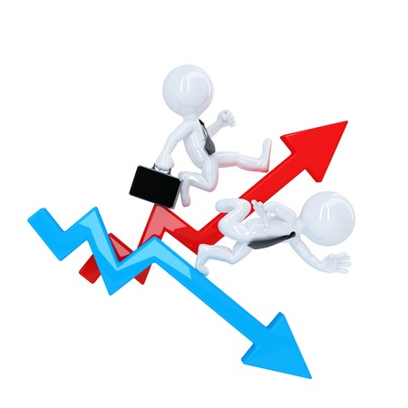 rise fall: Business man run over graph arrow. Rise and fall concept. Isolated. Contains clipping path Stock Photo