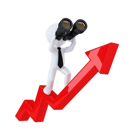 Businessman with binoculars on top of the graph arrow. Business concept. Isolated. Contains clipping path photo