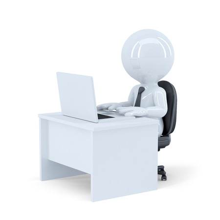 Office wotker. Isolated. Contains clipping path Stock Photo - 28219120