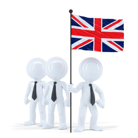 Business team holding flag of UK. Isolated. Contains clipping path photo