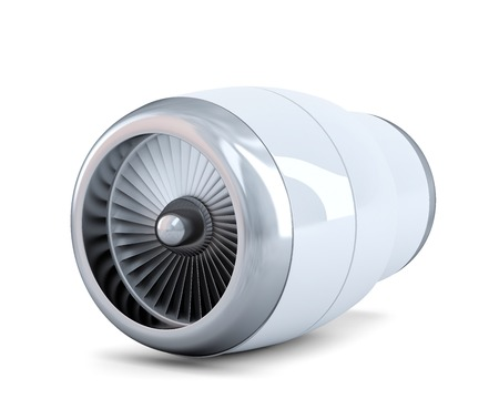 aluminum airplane: Jet engine. Isolated. Contains clipping path