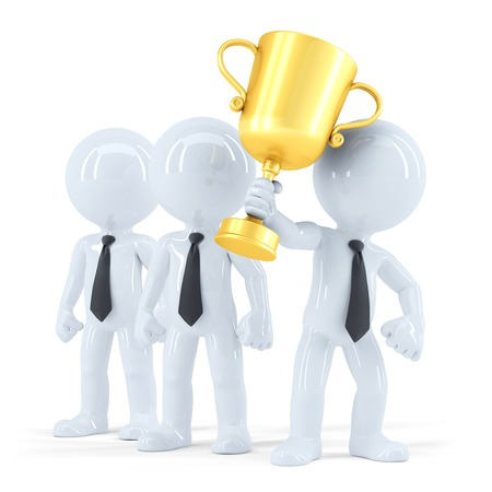 awarded: Successful business team with trophy. Business concept. Isolated.