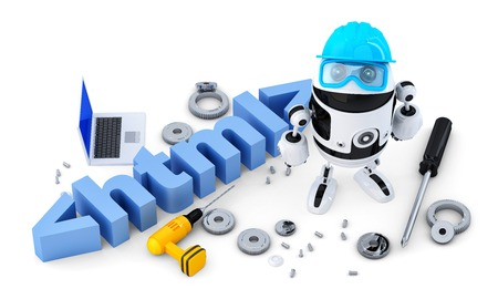 html 5: Robot with HTML sign. Technology concept.  Stock Photo