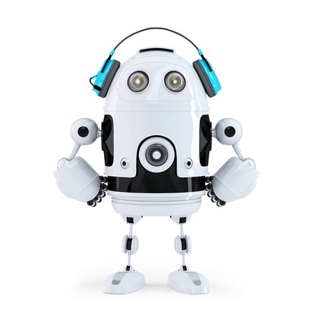 Robot with headphones. Isolated. Contains clipping path