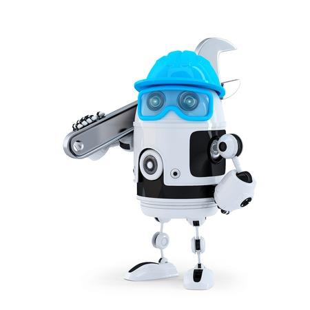 3D-Roboter mit verstellbarer Schraubenschlüssel. Technologie-Konzept. Isoliert. Enthält Clipping-Pfad