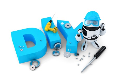 Robot with DIY sign. Technology concept.  photo