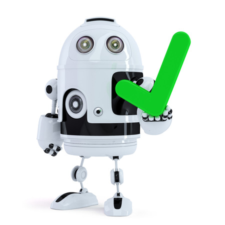 Cute robot holding green check mark. Isolated. Contains clipping path