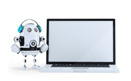 Robot with headphone and huge laptop. Isolated. Contains clipping path Banco de Imagens