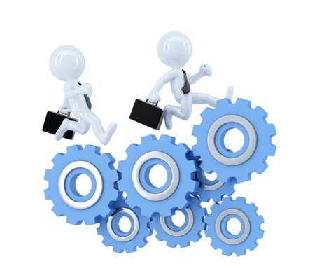 Business team running over cog wheel elements. Business concept. Isolated. Contains clipping path photo