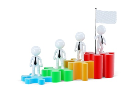 Business team standing on graph bars. Isolated. Contains clipping path of scene and flag photo
