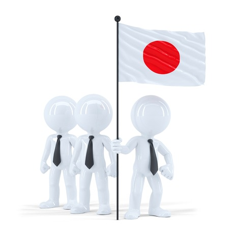 raise the white flag: Business team holding flag of Japan. Isolated. Contains clipping path
