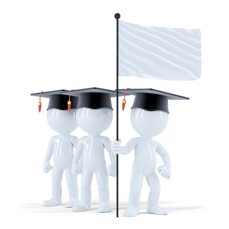 Group of students with blank flag. Isolated. Contains clipping path photo