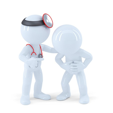 Arts en patiënt. Geïsoleerd op wit. Bevat clipping path