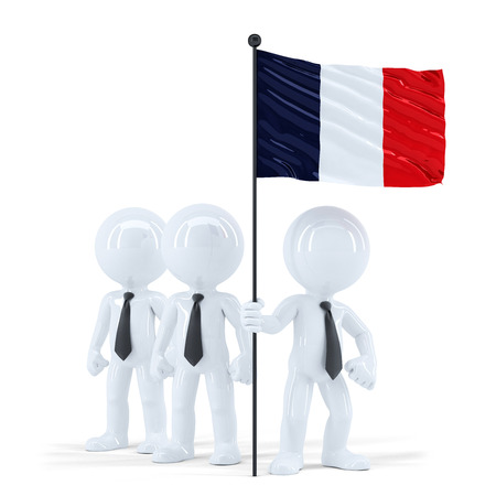 Business team holding flag of France. Isolated. Contains clipping path photo