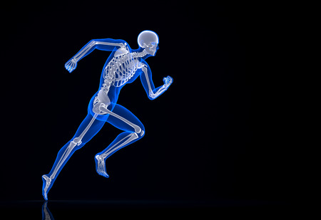 xray: Running skeleton. Contains clipping path.
