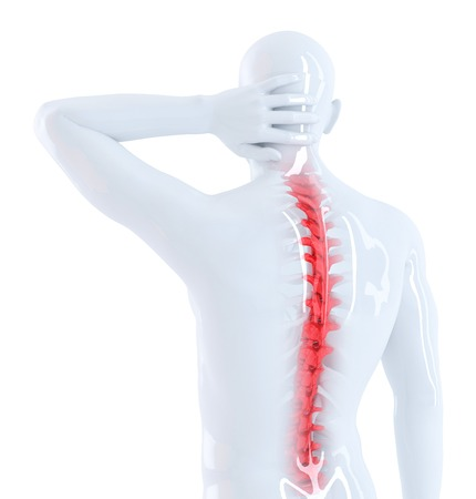 Back pain concept. Isolated. Contains clipping path Stock Photo - 28219359