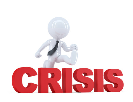 credit risk: Businessman jumping over crisis sign. Isolated. Contains clipping path Stock Photo