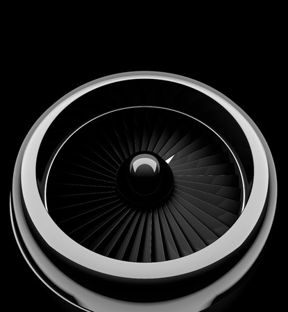 Front view of jet engine. 3d render
